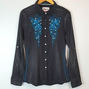Roar Rhinestone Embroidered Western Shirt